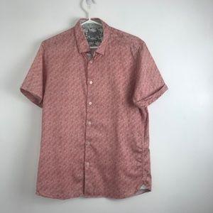 Ted Baker Men's Salmon-Coloured Palm Tree Shirt